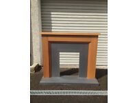 Oak Finish Fire Surround for Electric Fire. Designed to be fitted flush to a wall