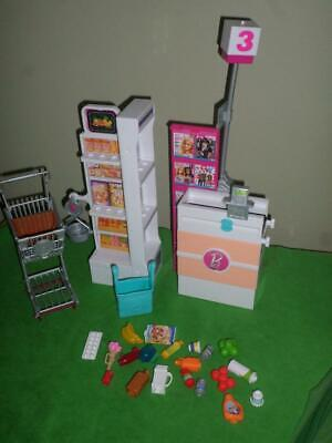 Barbie Grocery Store Shopping Cart Play Food Accessories LOT