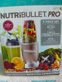 Brand new boxed Nutribullet Pro, 9 piece set, 900w motor, rrp 129.99