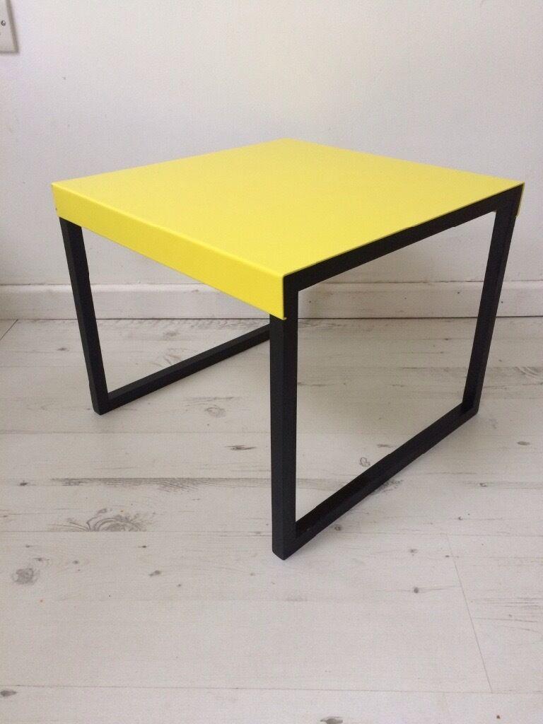 Habitat Kilo Yellow Black Metal Coffee Side Table