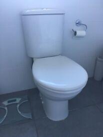 Bathroom Suite & En-suite. Toilets, Sinks and Corner Bath complete with Taps