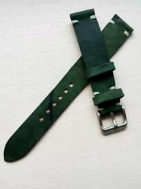 NEW Horween Shell Cordovan Watch Strap in Vintage Green