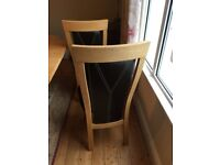 Leather and solid Oak high back dining chairs