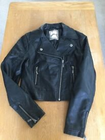 Girls Leather Look Black Jacket, Age 10-11 VGC