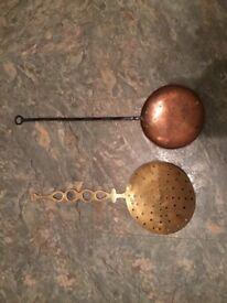 Vintage bed warmers copper & brass