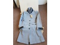 Brand New Burberry Steadleigh Melton Four Button Leather Detail Reefer Coat Giftbox size8