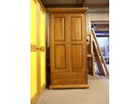 Solid Pine, 2 door, 2 drawer wardrobe, antique pine finish, very solid wardrobe, excellent condition