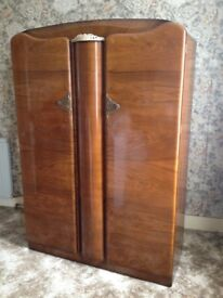 Antique ladies double wardrobe with feature mirror