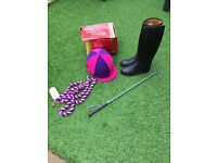 Girls junior horse riding skull cap boots & whip