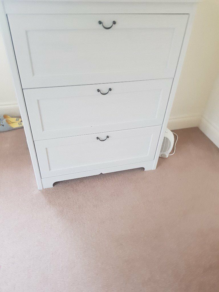 White 3 Drawer Cabinet Perfect for a Nursery