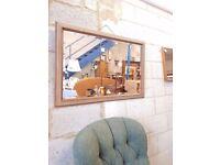 Vintage 1950's Bevelled Over Mantle Mirror