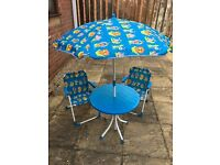 Childrens patio set including table, umbrella and two chairs from Debenhams