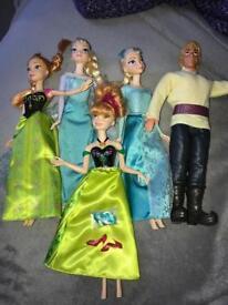 Frozen Elsa Anna and Kristoff barbie dolls