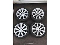 "Good condition 20"" Range Rover alloys and 4 nearly new tyres- quick sale £450 land over"