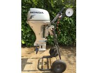 Immaculate Honda 15hp four stroke short shaft outboard for RIB rigid inflatable or fishing boat