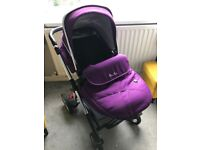 Purple Silver cross Pioneer pram/pushchair with cat seat and isofix base