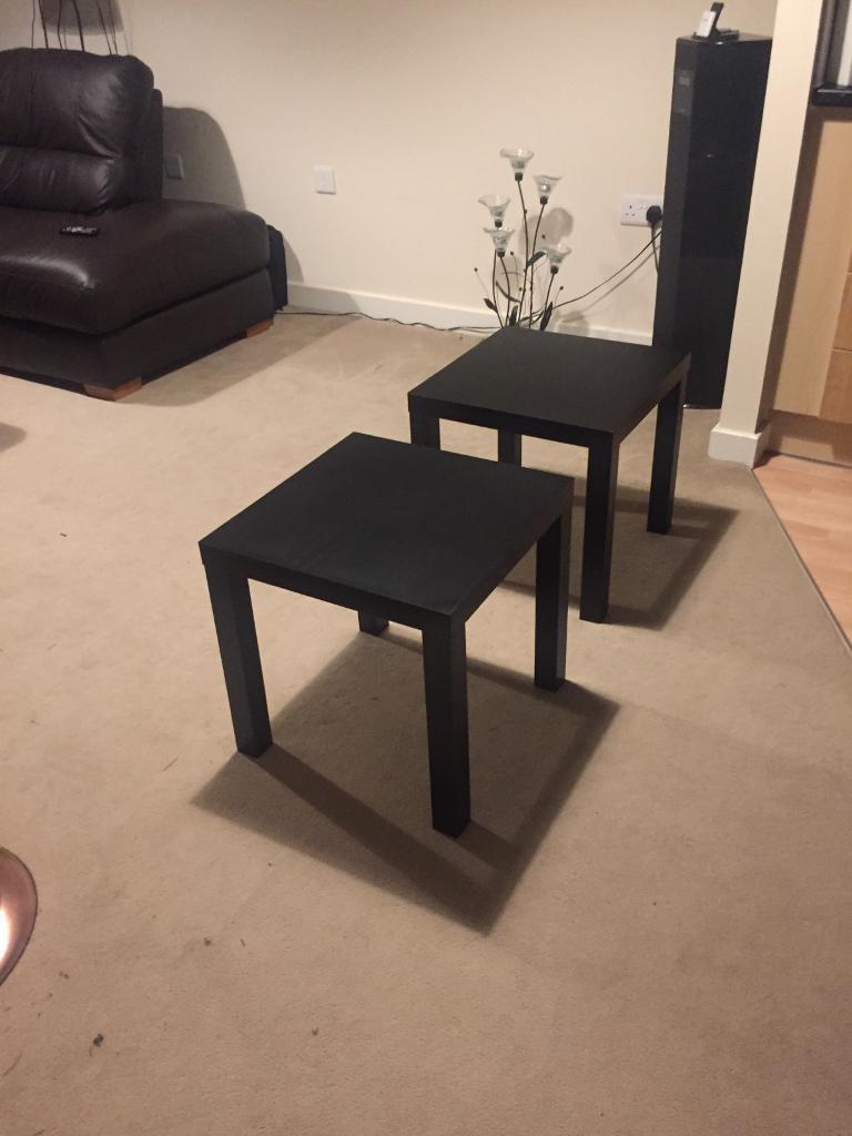 2 black side tables