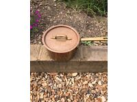 Beautiful copper saucepan with lid - needs relining