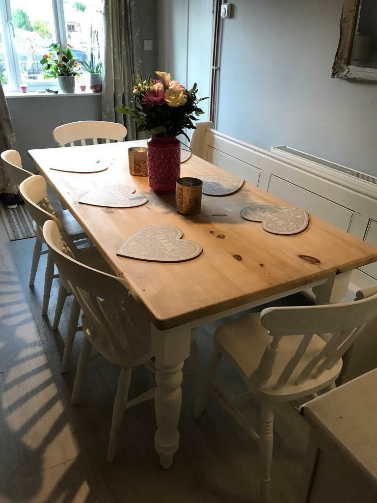 Large Shabby Chic Farmhouse Dining Table 5 Chairs And Bench Pew French Wood