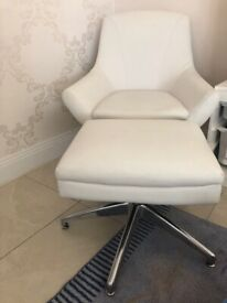 Next leather off white/ white leather swivel chair