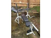 York fitness weight bench with leg and arm curls