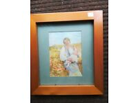 Mother & Child Picture In Small Light Wood Frame