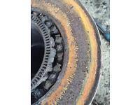 Lorry wheel hub stud removed