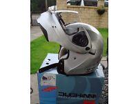 Flip up motorcycle helmet, Silver, excellent condition, size medium 58