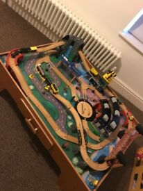Wooden train set from imagination