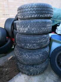 Five all terrain tyres with alloys
