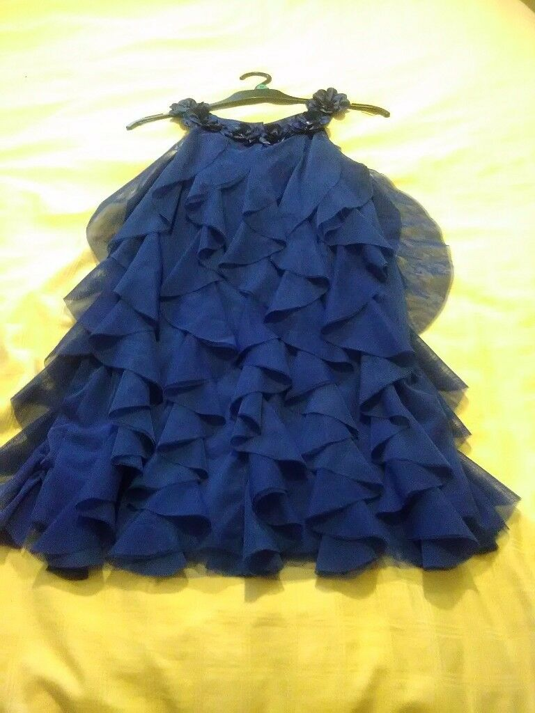 Costco girls blue ruffle party dress size 10 years
