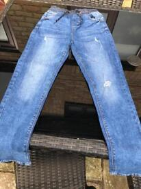 NEXT Boys Distressed Ribbed Waist Jeans Age 13 Years