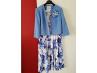 Mother-of-the-bride-outfit. Floral-blue-dress-with-light-blue-jacket-Worn-once
