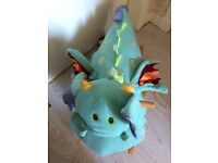 *CLEARENCE* BEAUTIFUL colours cosy plush and soft DRAGON Rocking chair with bell for children