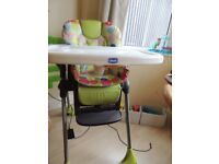 Chicco Polly High Chair - Green/Mutli coloured spots theme