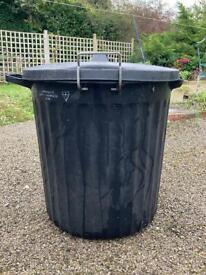 Large Black Plastic Rubbish Bin with Locking Lid