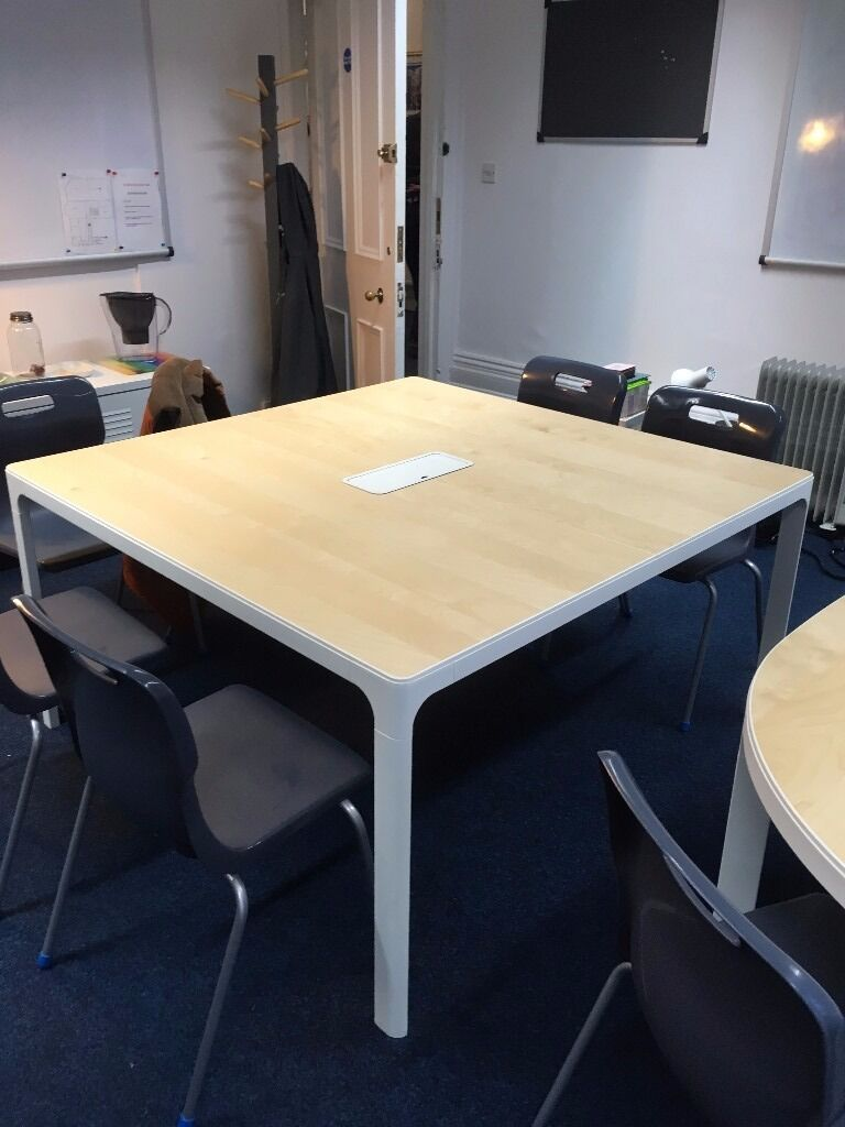 Ikea Bekant Conference Table In Birch Veneer And White. Counter Height Dining Tables. Executive Home Office Desk. Printer Shelf For Desk. Laptop Desks. Natural Wood Console Table. Sliding Drawer Tool Boxes. Pool Table Ping Pong Combo. Desk And Shelf Combo