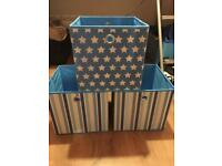 3 blue fabric storage boxes brand new