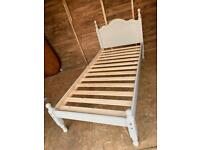 Solid Pine Shabby Chic Chalky Grey Single Bed Frame