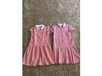 Girls gingham school dresses 9-10 Years