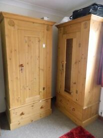2 SOLID PINE WARDROBES FOR SALE