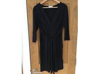 Red Herring Jersey Tie Back Maternity Dress Black Size 12