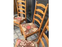Four Dining Chairs - Ercol, mid 1970s , pine, ladder back. Solidly made, really comfortable