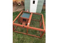 Guinea pig or rabbit small pet hutch with run cage