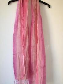 Brand new 'Lettuce' linen scarf in ombre shades of pink
