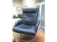 Revolving easy chair, black simulated leather