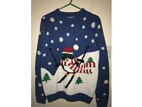 Mens Christmas Jumper Skiing Penguin Small Xmas