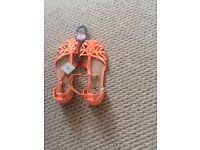 Brand New Orange Peep Toe Sandals