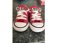 Girls red converse size 3