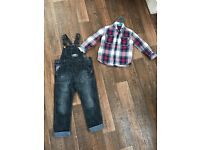 Next shirt age 3 and next dungarees and 3-4